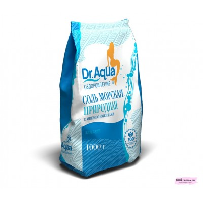 Соль морская природная в п/эт. Dr.Aqua 1000 гр